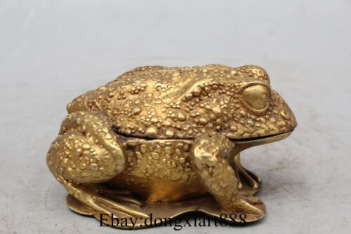 "4"" Chinese Bronze 24K Gold Frog Louts Statue Incense Burner Censer"