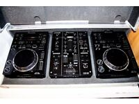 PIONEER DJM 350 + CDJ 350 + FLIGHT CASE + HEADPHONES + CABLES - £800 ONO