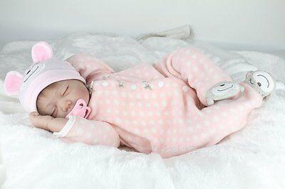 22inch Lifelike Reborn Baby Dolls Newborn Soft Vinyl Silicone Girl Doll Handmade