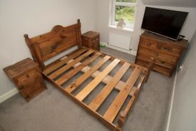 Solid Wood Mexican Bed King Size, Bedside Cabinets, Chest of Drawers