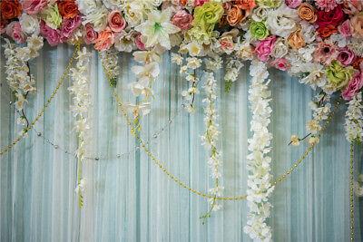 10x8FT Colorful Flowers Curtain Design Wedding Vinyl Background Studio - Backdrop Design