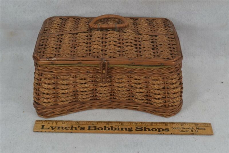 old early sewing basket w/lid padded lining wicker 9 x 6 x 4.5 carry handle 1890