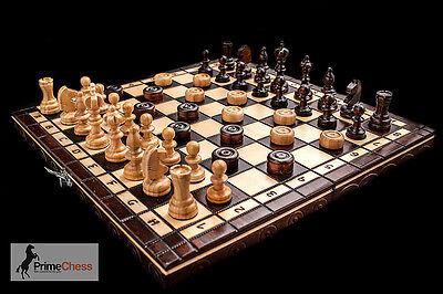 Prime Chess Hand Crafted Cherry Wooden Chess And Draughts Set 35cm x...