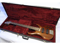 Ibanez BTB 5 String Bass Guitar with Ibanez Hard Case plus Soft Case and Tuner.