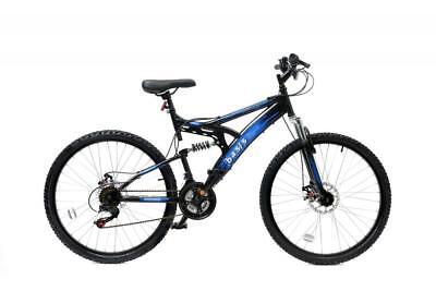 """Basis 1 Full Dual Suspension Mountain Bike MTB 26"""" Wheel Disc Brake 18 Sp Blue"""
