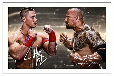 JOHN CENA & THE ROCK WWE WRESTLING SIGNED PHOTO PRINT AUTOGRAPH