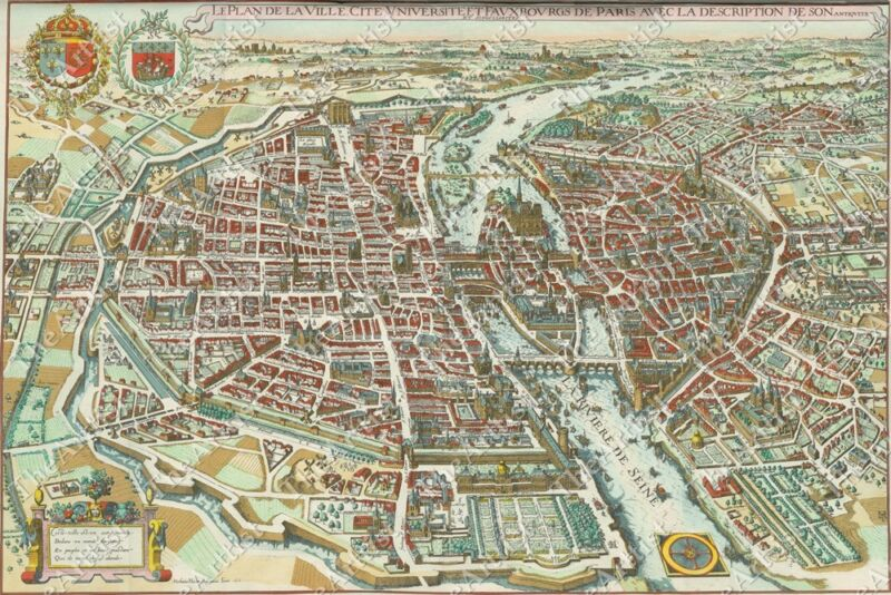 HUGE VINTAGE historical PARIS FRANCE 1615 OLD ANTIQUE STYLE MAP art print