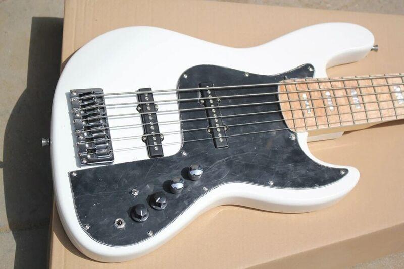 Starshine White 6 Strings Electric Bass Guitar Maple Fretboard Chrome Hardware