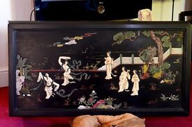 Beautiful Japanese ebonised coffee table with a garden scene and Geisha girls in soapstone relief.