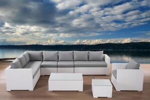 White Wicker Sectional - Outdoor Lounge Patio Furniture