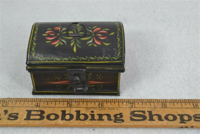 early period tin document box miniature 3 in. toleware painted original 19th c