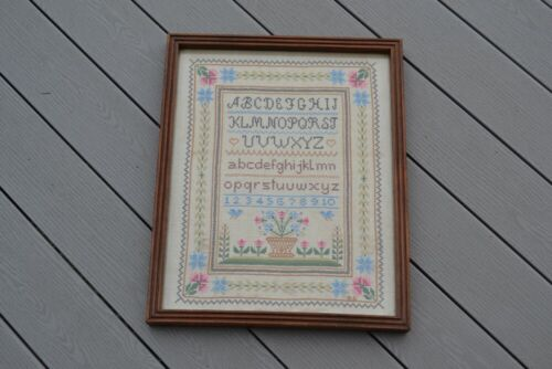 Vintage Needlepoint Sampler Framed Cross Stitch Alphabet Number Flowers Birds