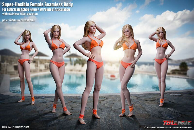 1:6 Scale Female Figure Body Model TBLeague PHICEN Flexible Medium Bust Pale
