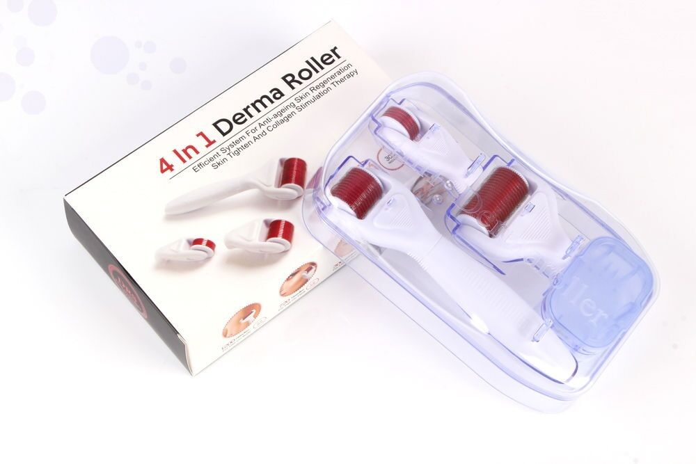 4 in 1 Derma Roller Set 0.5mm, 1.0mm, 1.5mm Titanium Micro N
