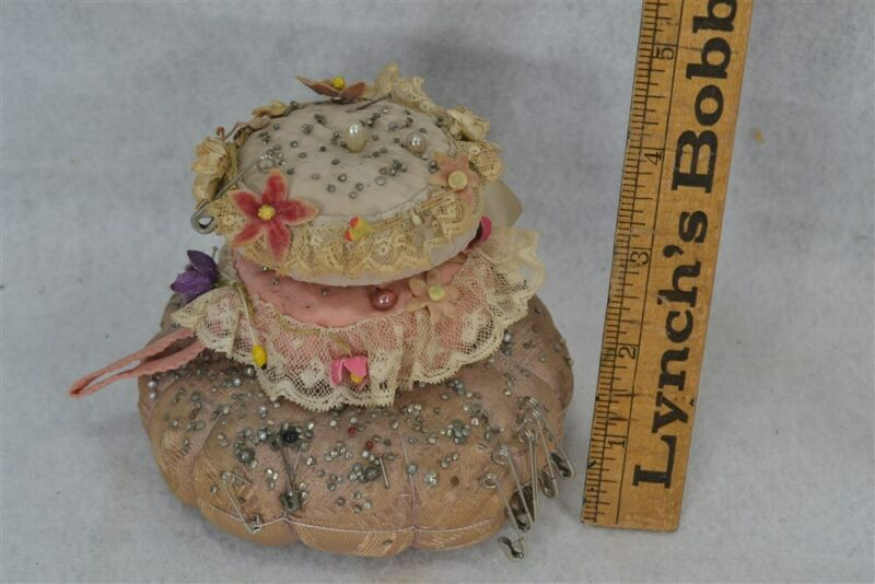 pin cushion 19th c stack nest silk lace flower trim 3pc antique