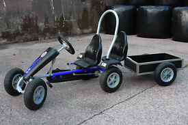 pedal go kart blue 2 seats and tipping trailer