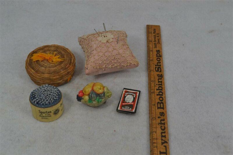 antique sewing basket pincushion needles pins retractable fruit tape measure