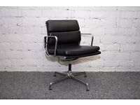 EAMES STYLE SOFT PAD EA 208 CHAIR LEATHER OFFICE VISITOR RECEPTION CHAIR