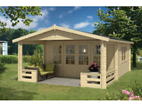 log cabin with veranda