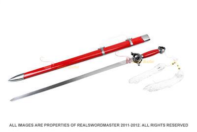 Red Spring Steel Jian Chinese Tai Chi Kung Fu Practice Sword Unsharpened New