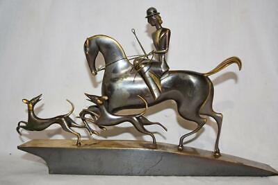 Hagenauer Era Bronze Sidesaddle Lady Dogs Hunt Scene Horse Figurine for sale  Rochester
