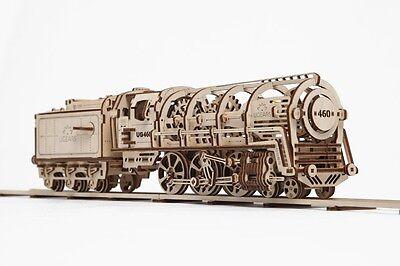 UGEARS 3D-Funktionsmodell Lokomotive, Holz-Bausatz mit mechanischer Funktion