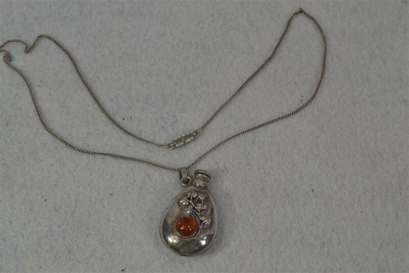 early perfume sterling silver amber dauber small necklace original 19th c