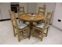 Round Solid Wood Dining Table and 4 Chairs