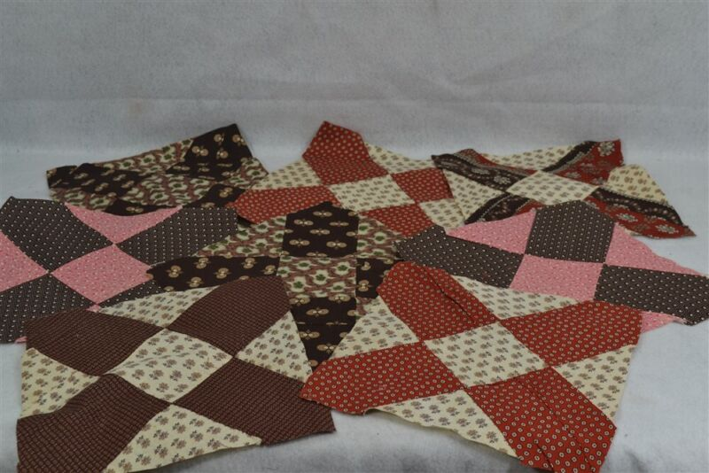 old early period calico quilt blocks 8 snowflake cotton calico 4x4 in 19th 1830