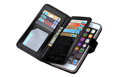 Luxury 9 Card slot Leather Wallet Case Flip Cover For Apple phone 6 6s 6 Plus on Rummage