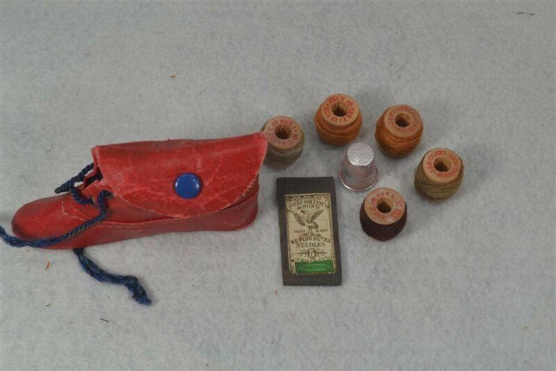 sewing kit case needles thread thimble shoe shape Rochester souvenir antique