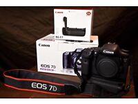 Canon 7D DSLR + battery grip + Flash + 18mm 55mm lens (original box and paperwork)