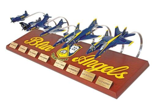 Blue Angels Collection 1/72 (8) Plane Model Aircraft Set With Mahogany Display