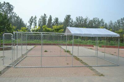 Backyard Dog Kennel Outdoor Pet Pen Chain Link Fence House Large Cage