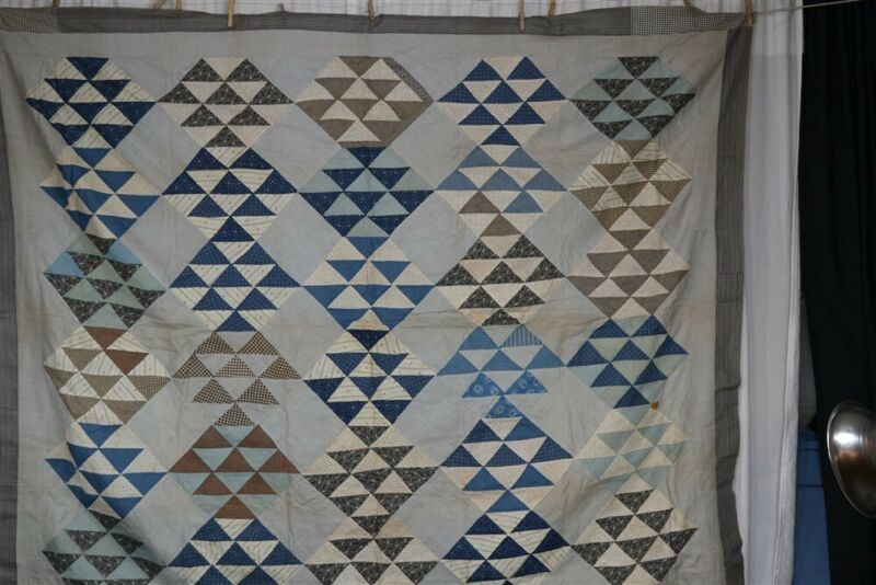 antique quilt top patchwork 63 x 79 in. unfinished cotton blue 19th c
