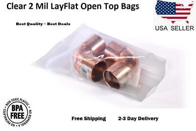 Clear Plastic Bags Open Top End Lay Flat 2 Mil Poly Baggies Small Large Fda Pe