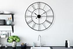 Minimalist Slim Iron Wall Clock 30'' Diameter Home Room Decorations Oversize