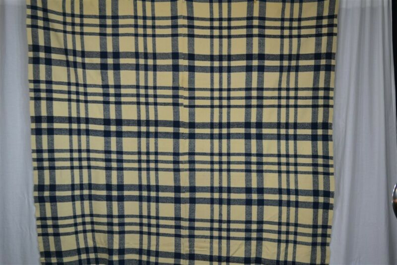 blanket wool blue plaid hand made Civil War Era 71x79 narrow loom antique 1800