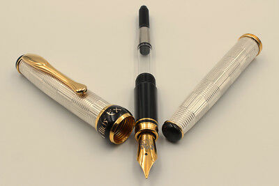 Solid Silver Wickerwork Fountain Pen Medium Nib Black Ink Waterman Cartridge