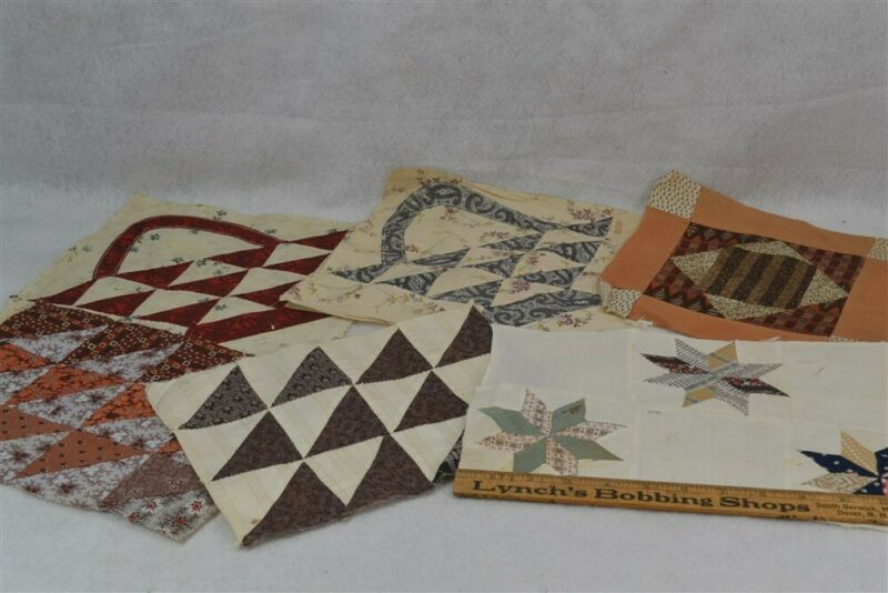 blocks quilt square patchwork 11 in. baskets stars 6 pc cotton antique