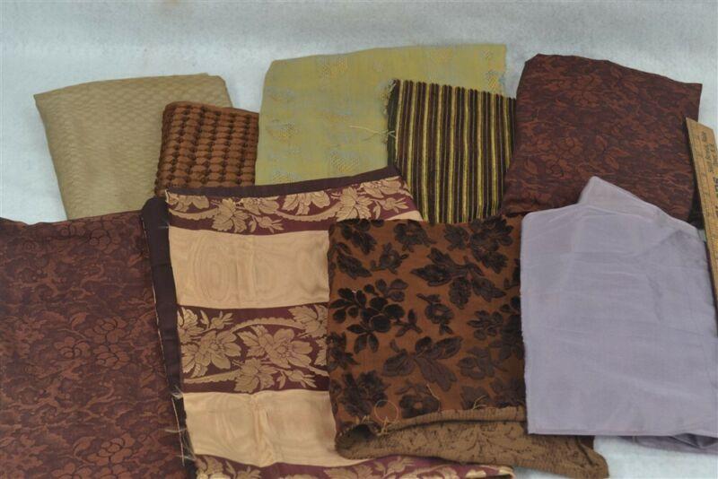 antique silk velvet remnants scraps Civil War Era fabric crazy quilt repair 19th