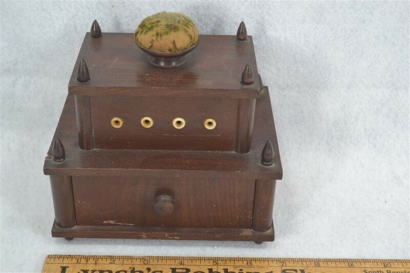 antique Sewing box carved thread holes drawer wood Shaker community original