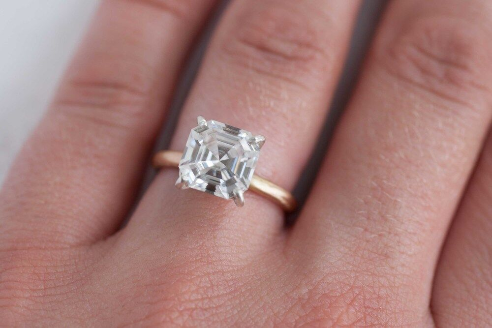 Solitaire 1.00 Ct Asscher Cut Diamond Engagement Ring F,VVS2 GIA Gold or Plat