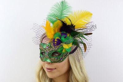 Mardi Gras Party Attire (Mardi Gras Masquerade Feather Mask Brocade Lace Sexy Dress up Costume Party)