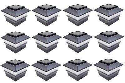 12 Black 4 x 4 Solar Post Deck Cap Fence Light PVC Vinyl or Plastic Post 244BX12 ()