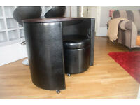 Black pleather table or desk with stool - space saving modern design. Good condition priced to sell