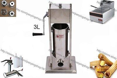 3l Manual Spanish Doughnuts Churros Machine W 6l Electric Fryer 700ml Filler