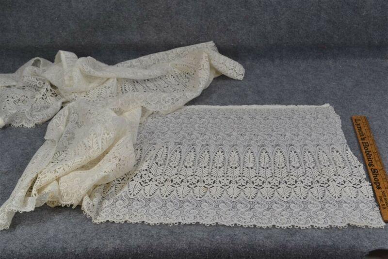 antique lace yards trim white lot 2 pieces pre used cotton bobbin 15 x 80