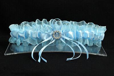 Sexy Strumpfband (Braut Strumpfband blau Satin Tüll Strass Verzierung Hochzeit Gr.Uni Sexy)