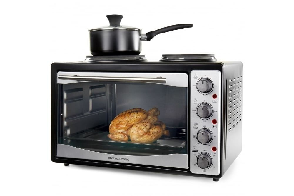 Andrew James 33 Litre Mini Microwave Oven And Grill With Double Hob